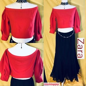 Red Couture Bardot Crop Top by Zara